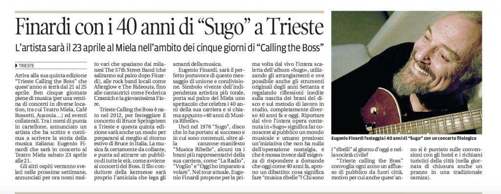 Finardi, Trieste, Il Piccolo 23.02.16, Calling the boss, 2016