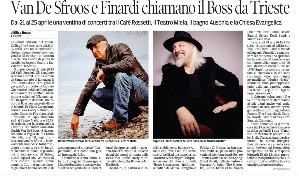 Van De Sfroos e Finardi chiamano il Boss da Trieste